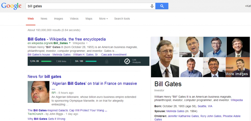 Screenshot Bill Gates Knowledge Graph